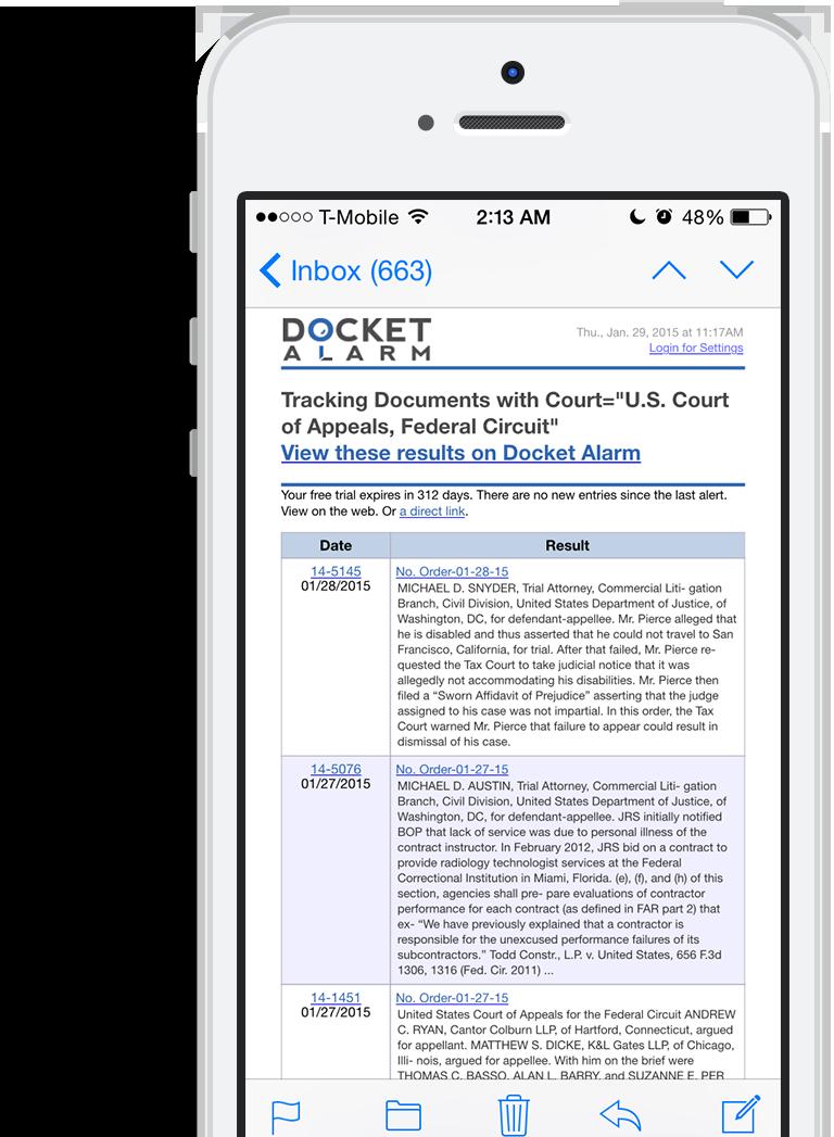 Docket Alarm | Litigation Filings, Delivered